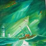 Storm At Toward Lighthouse oils 25x19cm £190