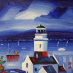Cloch Lighthouse with Puffer Oils 29x38cm £370